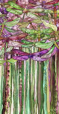 Mixed Media - Dragonfly Bloomies 2 - Pink by Carol Cavalaris