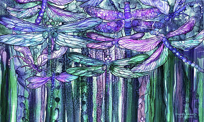Print featuring the mixed media Dragonfly Bloomies 3 - Lavender Teal by Carol Cavalaris