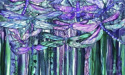 Mixed Media - Dragonfly Bloomies 3 - Lavender Teal by Carol Cavalaris
