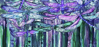 Print featuring the mixed media Dragonfly Bloomies 4 - Lavender Teal by Carol Cavalaris