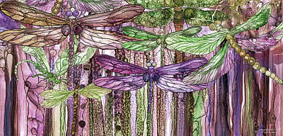Print featuring the mixed media Dragonfly Bloomies 4 - Pink by Carol Cavalaris