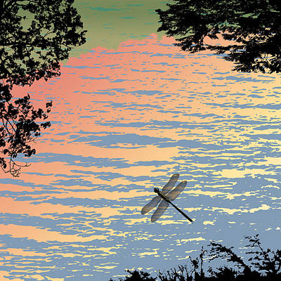 Wall Art - Painting - Dragonfly By The Lake by Marian Federspiel