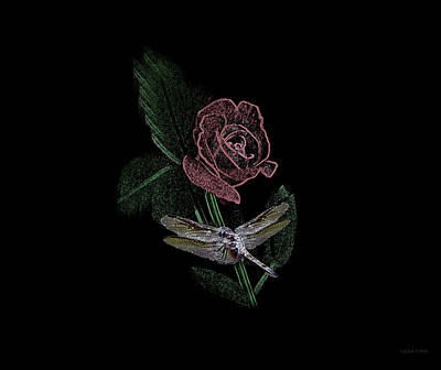 Photograph - Dragonfly Dash With The Rose 3 by Lesa Fine
