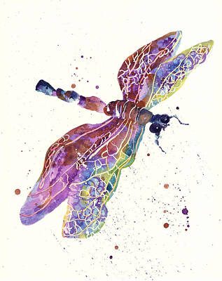 Dragonflies Painting - Dragonfly Drama by Alison Fennell