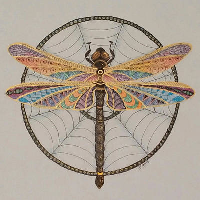 Dreamcatcher Drawing - Dragonfly Dreamcatcher by Linda Clary