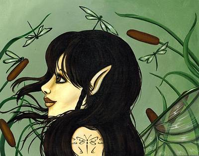 Dragonfly Fairy 5 Art Print by Elaina  Wagner