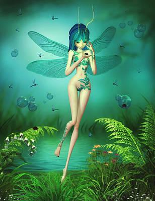 Digital Art - Dragonfly Flitters by Brandy Thomas