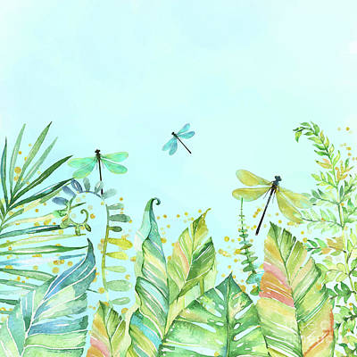 Palm Frond Painting - Dragonfly Garden Tropical Jungle Plants Dragonflies by Tina Lavoie
