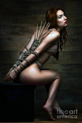 Nudeart Photograph - Dragonfly Knot, Bamboo Sticks - Fine Art Of Bondage by Rod Meier