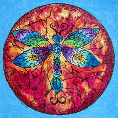 Colored Pencil Abstract Drawing - Dragonfly Mandala  by Megan Walsh