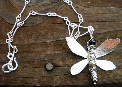 Sterling Silver Jewelry - Dragonfly Necklace by Theresa Lemal