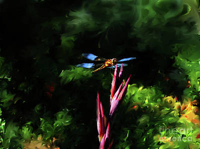 Digital Art - Dragonfly On Canis Bud by Lisa Redfern