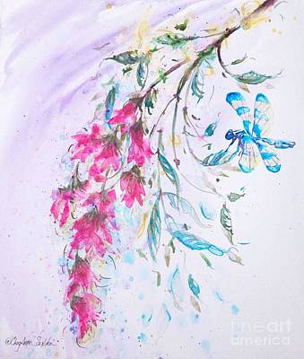 Painting - Dragonfly On Fuchsia Vine by CheyAnne Sexton