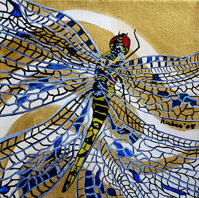 Dragonfly On Gold Scarf Art Print by Susan Kubes