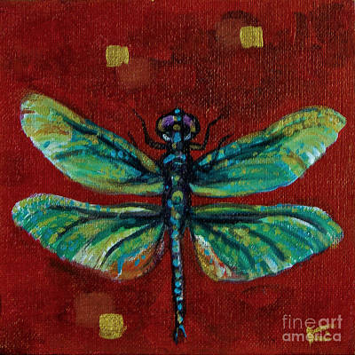 Metal Dragonfly Painting - Dragonfly On Red With Gold Accents by Kim Marshall