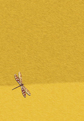 Libellule Painting - Dragonfly On Yellow Fur by Pascal VERSAVEL