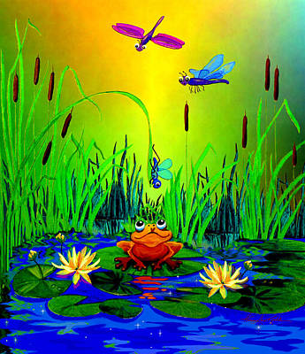 Food And Flowers Still Life - Dragonfly Pond Sunrise by Hanne Lore Koehler