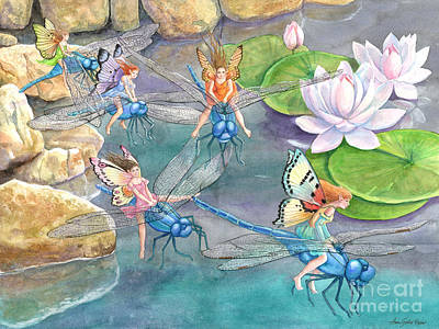 Painting - Dragonfly Races by Ann Gates Fiser
