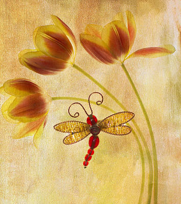 Dragonfly Photograph - Dragonfly Tulips by Rebecca Cozart
