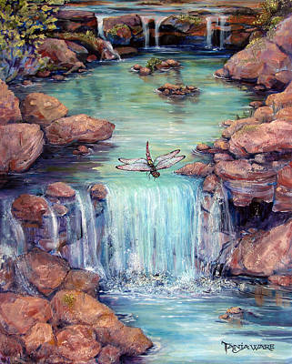 Waterscape Painting - Dragonfly's Dream by Tanja Ware