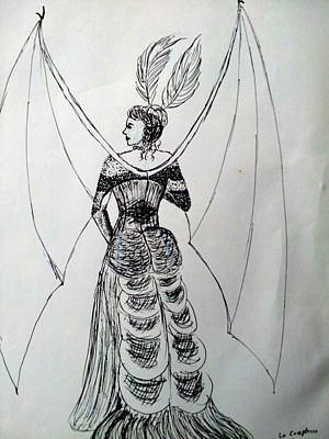 Wall Art - Drawing - Dragonlady Tatiana by Helen Krummenacker