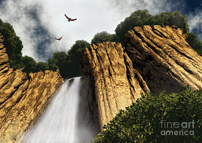 Waterfalls Digital Art - Dragons Den Canyon by Richard Rizzo