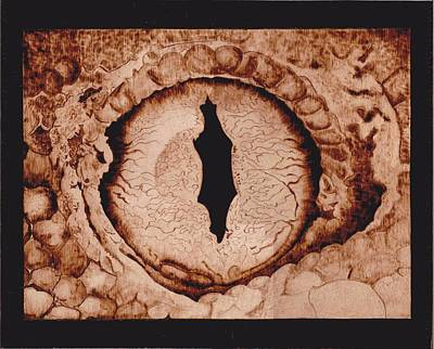 Pyrography On Wood Pyrography - Dragon's Eye by Marsha Wilson