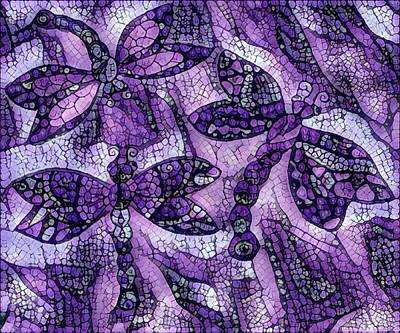 Digital Art - Dragons In Lavender Mosaic by Megan Walsh