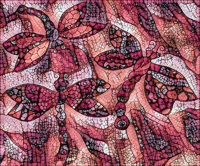 Digital Art - Dragons In Red And Orange Mosaic by Megan Walsh