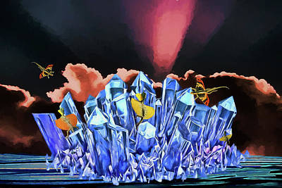 Digital Art - Dragons On Ice by John Haldane