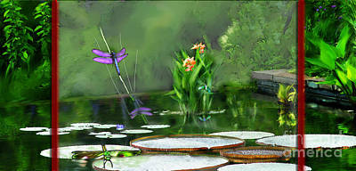 Mixed Media - Dragons On The Pond by Lisa Redfern