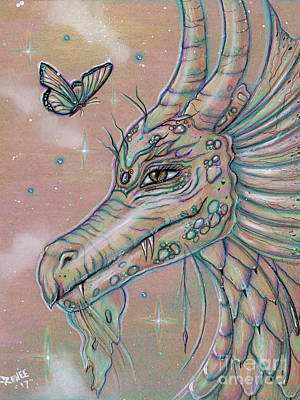 Drawing - Drago's Butterfly Dragon by Renee Lavoie