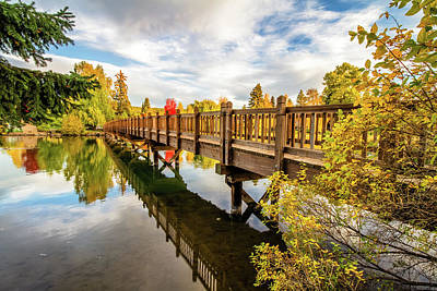 Drake Park Bridge Fall Bend Oregon Art Print by John Williams