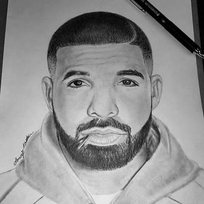 Drake Drawing - Drake Portrait  by Lorenzo Kastman