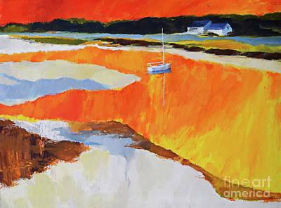 Painting - Drake's Island Estuary At Sunset  by Expressionistart studio Priscilla Batzell