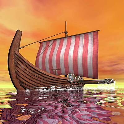 Drakkar Or Viking Ship - 3d Render Art Print by Elenarts - Elena Duvernay Digital Art