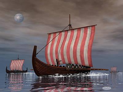 Drakkars Or Viking Ships - 3d Render Art Print by Elenarts - Elena Duvernay Digital Art