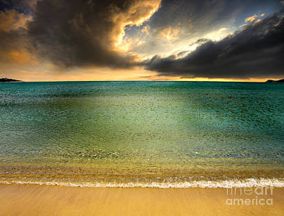 Drama At The Beach Print by Meirion Matthias