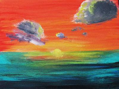 Art Print featuring the painting Drama In The Skies by Trilby Cole