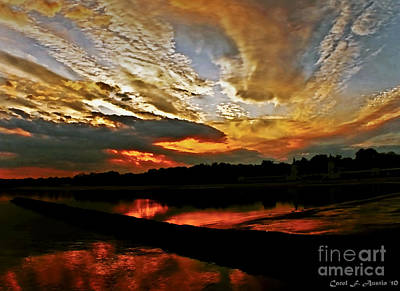 Drama In The Sky At The Sunset Hour Art Print by Carol F Austin