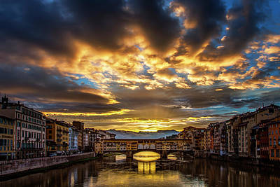 Drama Over Ponte Vecchio Art Print by Andrew Soundarajan