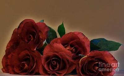 Laying Digital Art - Drama Roses by Marsha Heiken
