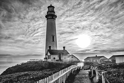 Photograph - Dramantic Pigeon Point Lighthouse Black And White by Garry Gay
