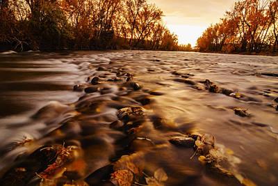 Dramatic Autumn Sunrise Along Boise River In Boise Idaho Art Print