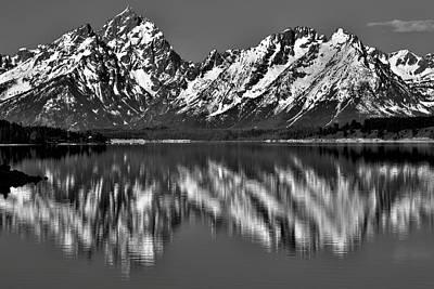 Dramatic Black And White Grand Teton Reflection Art Print