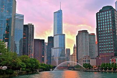 Photograph - Dramatic Chicago Sunset by Frozen in Time Fine Art Photography