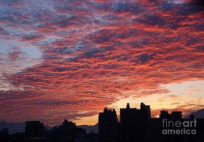 Photograph - Dramatic City Sunrise by Yali Shi