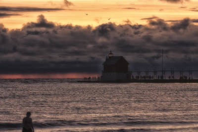 Photograph - Dramatic Clouds Over Ludington Lighthouse by Christopher Purcell