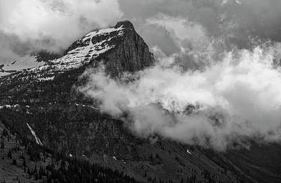 Photograph - Dramatic Clouds Over Mount Cannon - Black And White by Loree Johnson
