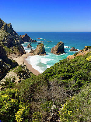 Dramatic Coastline And Beach - Portugal Art Print by Connie Sue White